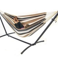 Cotton Weave Hammock With Stand & Travel Carrying Case Combo