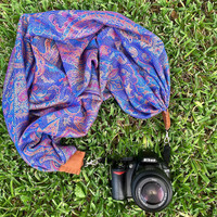 Exotic scarf camera strap > blue paisley || for Nikon, Canon, and DSLR photography