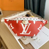 LV Louis Vuitton High Quality Fashion Women Leather Purse Waist Bag Shoulder Bag Chest Bag Satchel Red