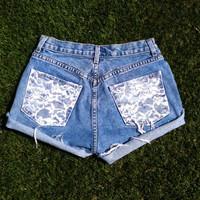 Vintage High Waist Jean Shorts Lace Pocket High Waisted Denim Shorts