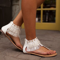 Flat and Fringed Sandals White