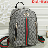 GUCCI GG stitching color letter logo ladies shopping backpack school bag Daypack