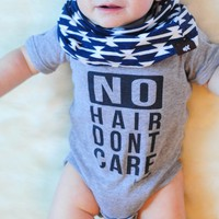 """""""No Hair Dont Care"""" Funny Baby Onesuit"""