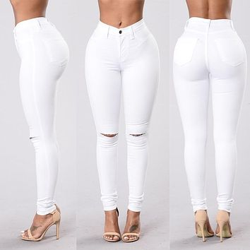 High Waist Skinny Jeans for Women Ripped Denim Pencil Pants