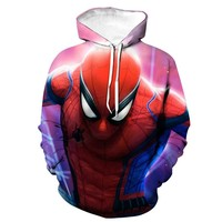 men's and women's hoodies in spring and autumn seasons European and American digital printing The Avengers spiderman sportswear
