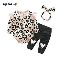 Top and Top Baby Girls Clothes Set 2018 Autumn Newborn Baby Girl Clothing Leopard Print Rompers Headband Pants 3PCS Outfits Set