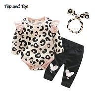 Baby Girls Clothes Set Autumn born Baby Girl Clothing Leopard Print Rompers Headband Pants Outfits Set