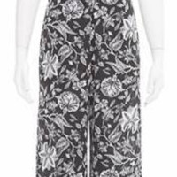 Femme Fatale Sleeveless Floral Print Tie Front Jumpsuit - Black/White