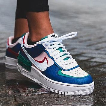 Air force AF1 NIKE macaron cream embroidery, laser vents on the upper, chrysanthemum pendant Blue