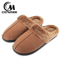 CONYMEE Winter Home Sneakers For Mens Plus Size Slippers Pantufa Indoor Warm Cotton Shoes Men Thicken Plush Slipper Erkek Terlik
