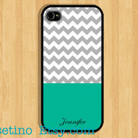 Monogram Chevron Mint iPhone 5 Case Green Emerald iPhone 4 case, iPhone 4S case, Hard Plastic Case, Iphone Cover Personalized