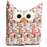 Owl Pillow - Patterned- Aqua and Bronze - Large - Ready To Ship!