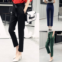 Linen Elastic Waist Solid Color Straight Pants