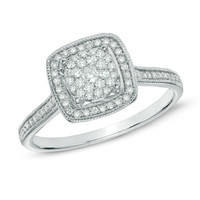 1/3 CT. T.W. Diamond Square Cluster Ring in Sterling Silver