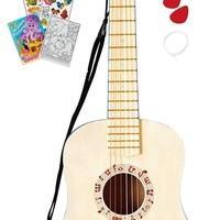 Hape Blue Tuneable Child Guitar with Strap, 2 Picks, Extra String & Coloring Book