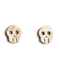 Skull Earrings, Bronze -