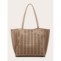 Hollow Out Tote Bag With Inner Pouch