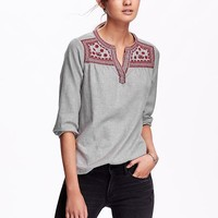 Old Navy Embroidered Yoke Top