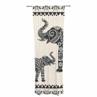 "Famenxt ""Ornate Indian Elephant-Boho"" Black Beige Decorative Sheer Curtain"