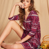 Burgundy Aztec Print Button Front A Line Dress