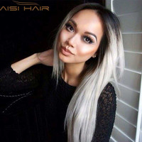 """Ombre Grey Wigs 26"""" Women's Synthetic Wig Long Straight Hair Ombre Wigs For Women Heat Resistant Fiber Cheap Cosplay Wig"""