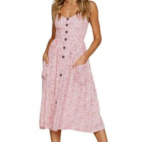 Pink Dotty Print White Button Down Sundress