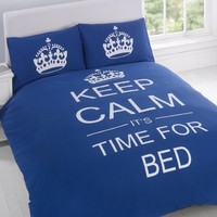 TWIN NAVY BLUE TEENAGER KEEP CALM ITS TIME FOR BED COTTON REVERSIBLE COMFORTER COVER