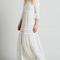 White Bell Sleeve Embroidered Maxi Dress