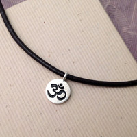 Om necklace with leather cord, sterling silver om charm necklace, ohm necklace, yoga jewelry, men's jewelry, jewelry for men, men's necklace