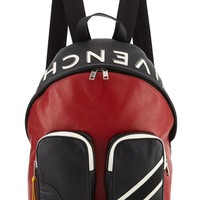 Red and Black Colorblock Backpack by Givenchy
