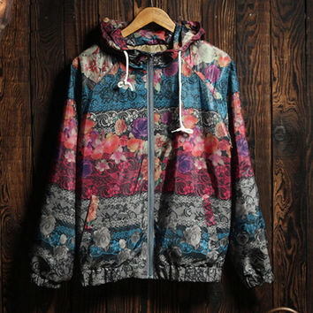 Cute Womens Comfortable Floral Hooded Jacket Super Lightweight Sports Coat Gift
