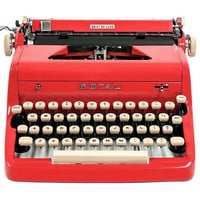 MINT 1956 Red Royal Quiet DeLuxe Typewriter / Original Case with Key / Manual / Vintage Metal Ribbon Spools