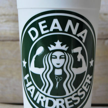 Hairdresser/Beautician Custom Starbucks Cup - Custom Reusable Coffee Cup - Personalized Hairdresser's Cup with Hairdresser Mermaid