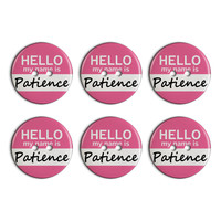 Patience Hello My Name Is Plastic Resin Button Set of 6