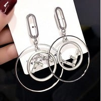 Fendi Fashion New Letter Crystal Long Earring Personality Accessories Women Silver