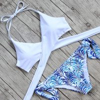 New Arrival Summer Beach Sexy Hot Swimsuit Swimwear White Cross Strap Print Bikini [10715939535]