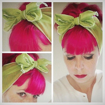 Lime Green Vintage Style Chiffon Hair Scarf Headwrap Hair Bow 1940s 1950s Rockabilly - Pin Up - For Women, Teens Scarves