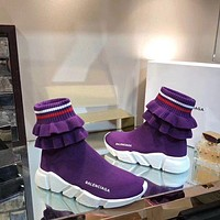 2020 New Balenciaga Speed Trainers Purple Sneakers