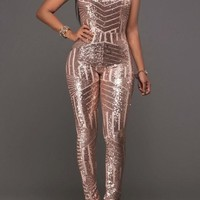 Geometric Sparkly Sequin Halter Neck Backless Bodysuit Clubwear Jumpsuit