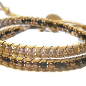 Double Wrap Beaded Bracelet Gold and Black