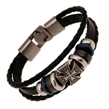 Handmade Leather Bracelet with Cross Charm