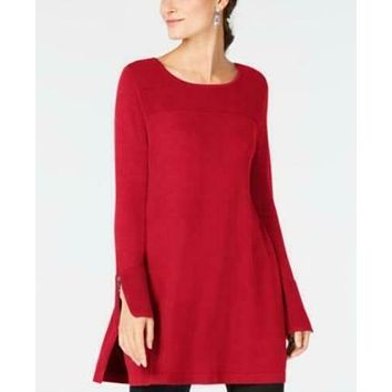 Alfani Womens Ribbed Zip-Cuff Boat Neck Tunic, Size Small/Real Red