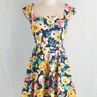 Mid-length Cap Sleeves Fit & Flare Because I'm Blossom Dress