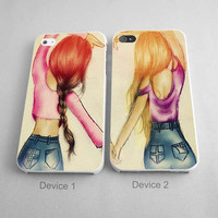 Brushes Paster Girls Best Friends Forever Couples Phone Case iPhone 4/4S, 5/5S, 5C Series - Hard Plastic, Rubber Case
