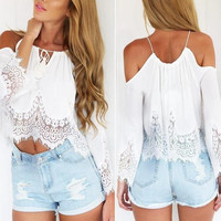 Womens Boho Blouse Sexy Lace back open Casual Off Shoulde