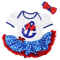 Infant Girls Baby Polka Dot USA Onesuit Tutu Anchor SET