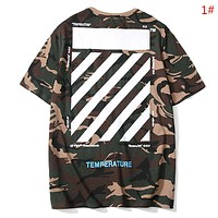 Off White New fashion letter print camouflage couple top t-shirt 1#