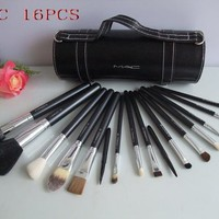 Mac Makeup Sets Brand Brushes Set 16 Pcs Black Professional Cosmetics Brush Kits Make Up Tools - Best Deal Online