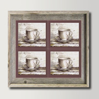 Modern Home & Wall Decor,  Kitchen Art Decor, Large Print Set of 4 Four pieces, Still life Old Cup of tea, Watercolor Paiting by Dhana