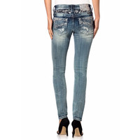 Miss Me Mid Rise Rhinestones And Lace Skinny Jeans 30 Inseam